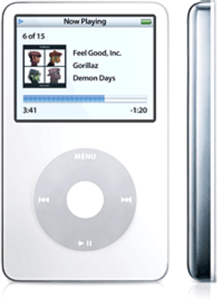 The new, top-of-the-line iPod does audio and video. It comes in 30GB and 60GB configurations.