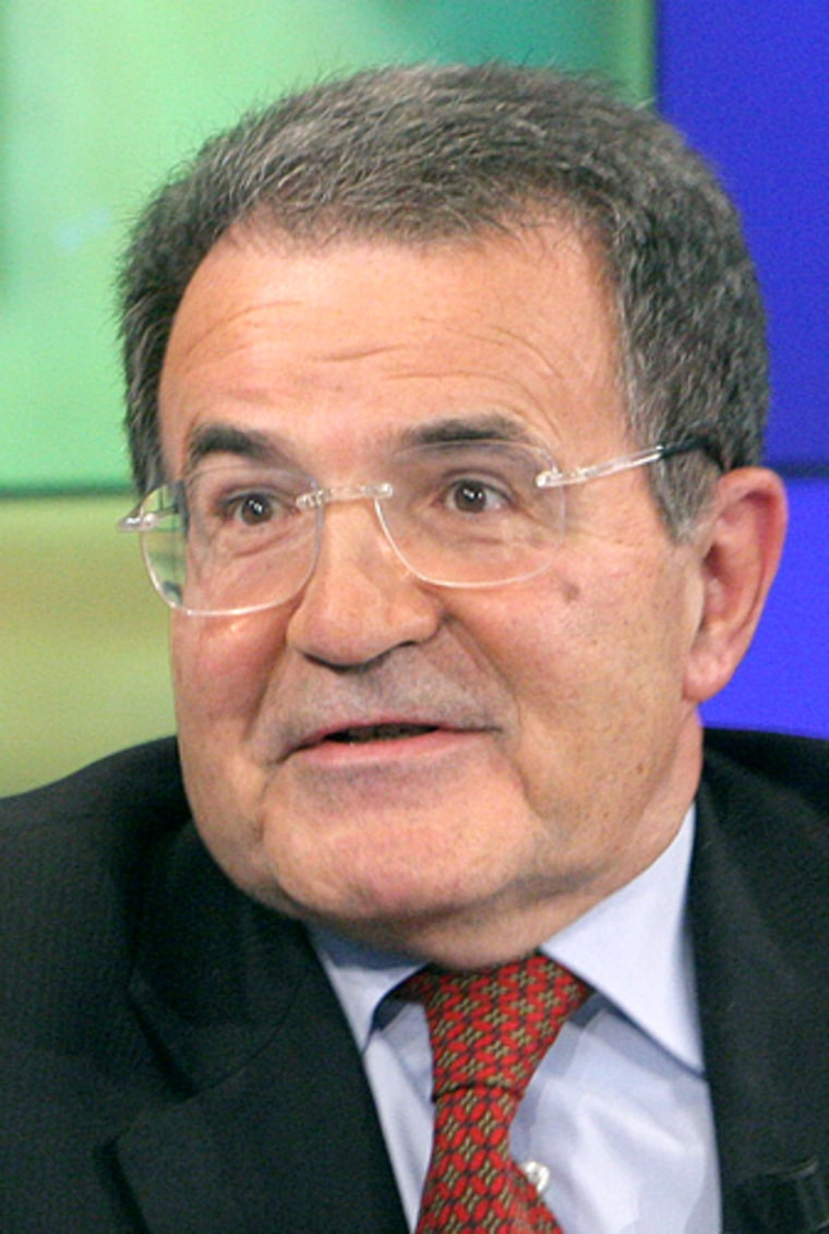 Former Italian premier Romano Prodi, leader of L'Unione, The Union center-left coalition, won a sweeping victory in a nationwide primary on Monday.