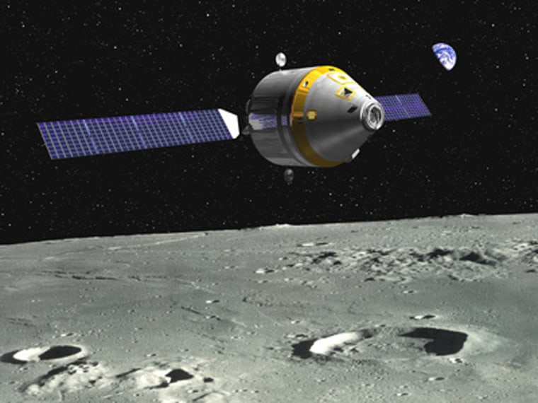 The Crew Exploration Vehicle, equipped with solar arrays, orbits above the moon in this artist's conception from the Northrop Grumman/Boeing team.