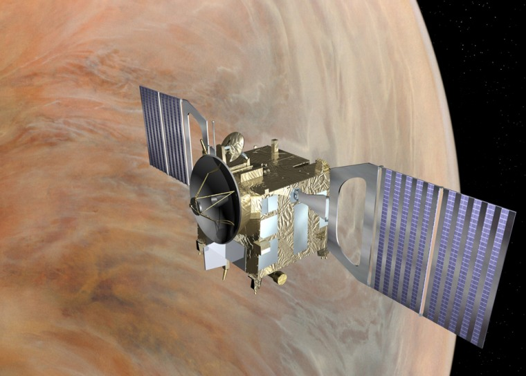 The Venus Express orbiter, shown in this artist's conception, is to study Venus' atmosphere and surface from above for at least 500 Earth days — which translates to just two days on Venus.