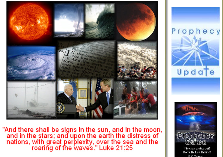 A page from the Web site ProphecyUpdate.com, which interprets current events through a biblical lens.