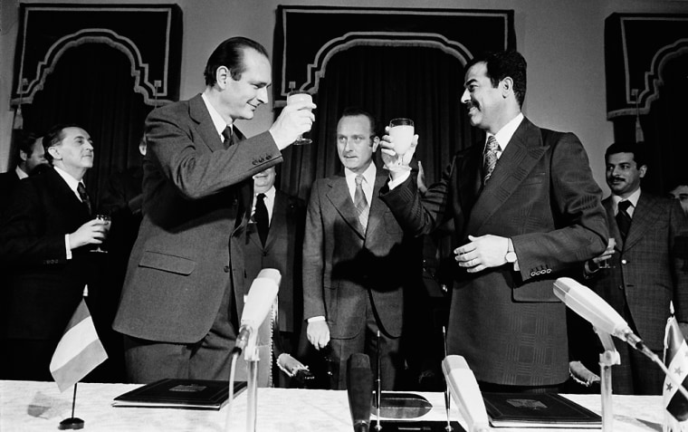 Jacques Chirac Signs Agreement with Saddam Hussein