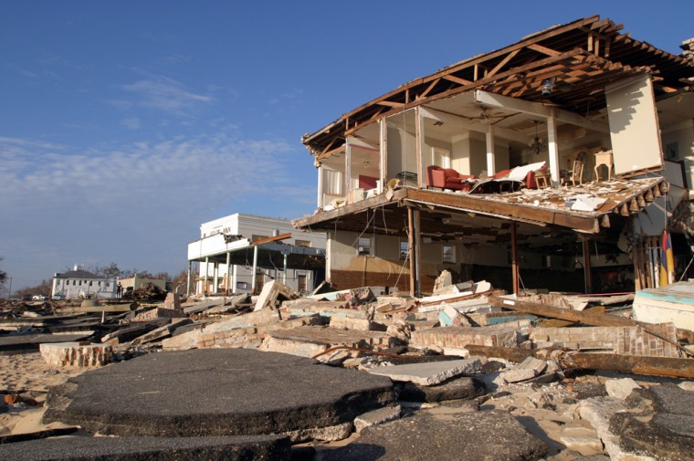 The formerly picturesque beachfront in Bay St. Louis, Miss., was ripped to shreds by Hurricane Katrina.