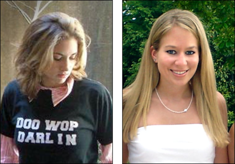 (left) This undated family photo shows missing freshman Taylor Behl. Ben Fawley, 38, who was identified as a person of interest in the disappearance of Behl, was arrested Friday, Sept. 23, 2005, Richmond, Va., police said. (AP Photo/Behl Family) (Right) Natalee Holloway at heir Mountain Brook High School senior banquet in Mountain Brook, Alabama in May 2005