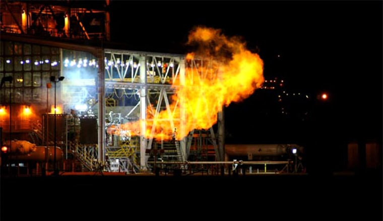 Flames spew out during a successful test of the Integrated Powerhead Demonstrator on April 28 at NASA's Stennis Space Center in Mississippi.