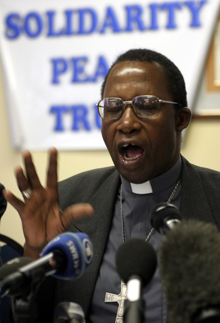 Pius Ncube, the Catholic Archbishop of Bulawayo, Zimbabwe, speaks Wednesday at a news conference by the Solidarity Peace Trust in Johannesburg, South Africa.