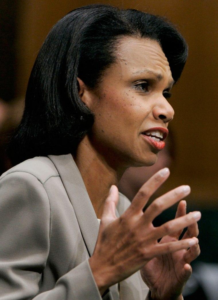 Secretary Of State Condoleezza Rice Testifies On Iraq