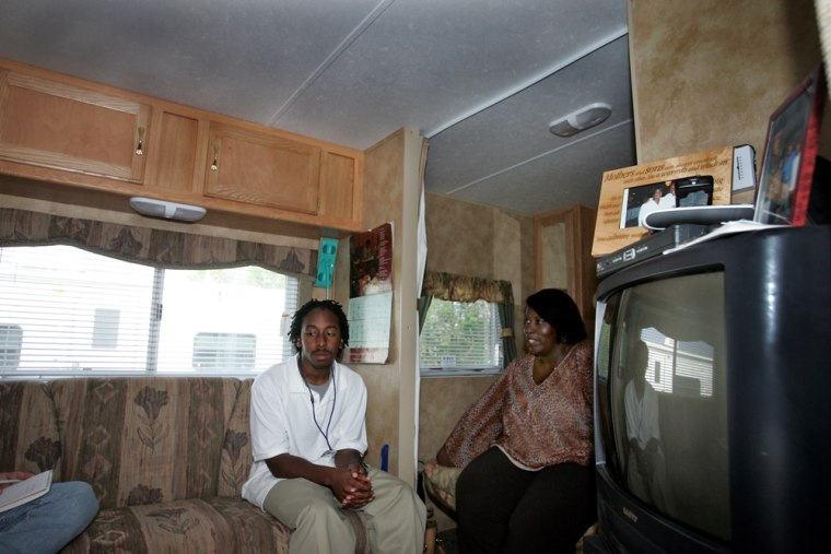Beverly Blount and her son Jonathanrelax Thursday in a trailer assigned to them by Dow Chemical Co., her employer. Dow is one Gulf Coast trying to answer one of the most daunting challenges of Hurricane Katrina: a drastic shortage of housing for workers.