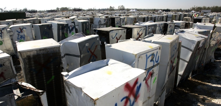 Thousands of refrigerators await cleaning and disposal at a landfill in New Orleans on Wednesday.