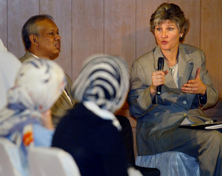 US Undersecretary of State for Public Diplomacy Hughes speaks during discussion with Indonesian Muslim students in Jakarta