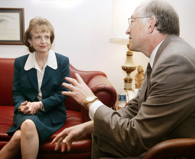 US Supreme Court nominee Miers meets with Senator Salazar on Capitol Hill in Washington