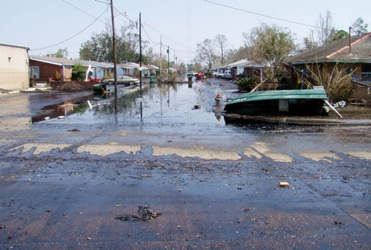 This street in Chalmette, a suburb southeast of New Orleans, was not only flooded by Hurricane Katrina, but it also was covered in contaminants from a nearby oil refinery spill.