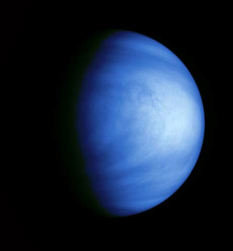 This colorized picture of Venus was taken by NASA's Galileo spacecraft on Feb. 14, 1990, from a distance of almost 1.7 million miles. It has been colorized to a bluish hue to emphasize subtle contrasts in the cloud markings and to indicate that it was taken through a violet filter to highlight the cloud features.