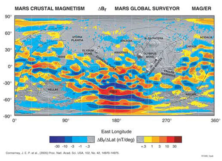 This is a map of the magnetic field of Mars observed by the Mars Global Surveyor. Red and blue stripes represent magnetic fields with opposite directions, with darker hues representing more intensity. The map is superimposed on a topography relief map from the Mars Observer Laser Altimeter instrument.