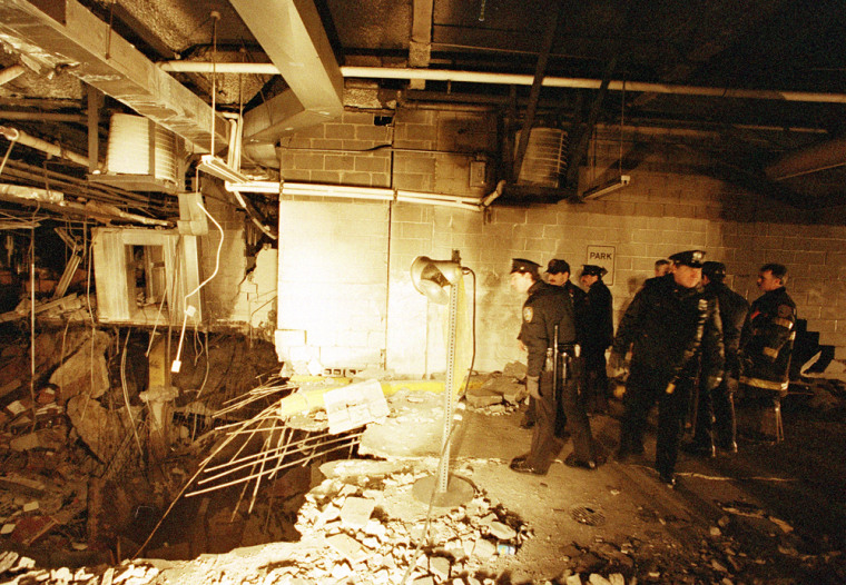 New York City police and firefighters inspect the bomb crater inside the World Trade Center on Feb. 27, 1993, one day after the attack. A jury ruled Wednesday that the Port Authority was negligent in the bombing, a long-awaited legal victory for victims of the attack, which killed six and wounded 1,000.