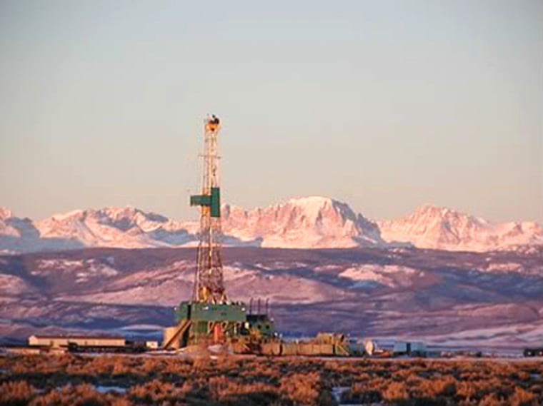 A drill rig operates in Wyoming's Pinedale Anticline, where energy companies want to extend drilling year-round.