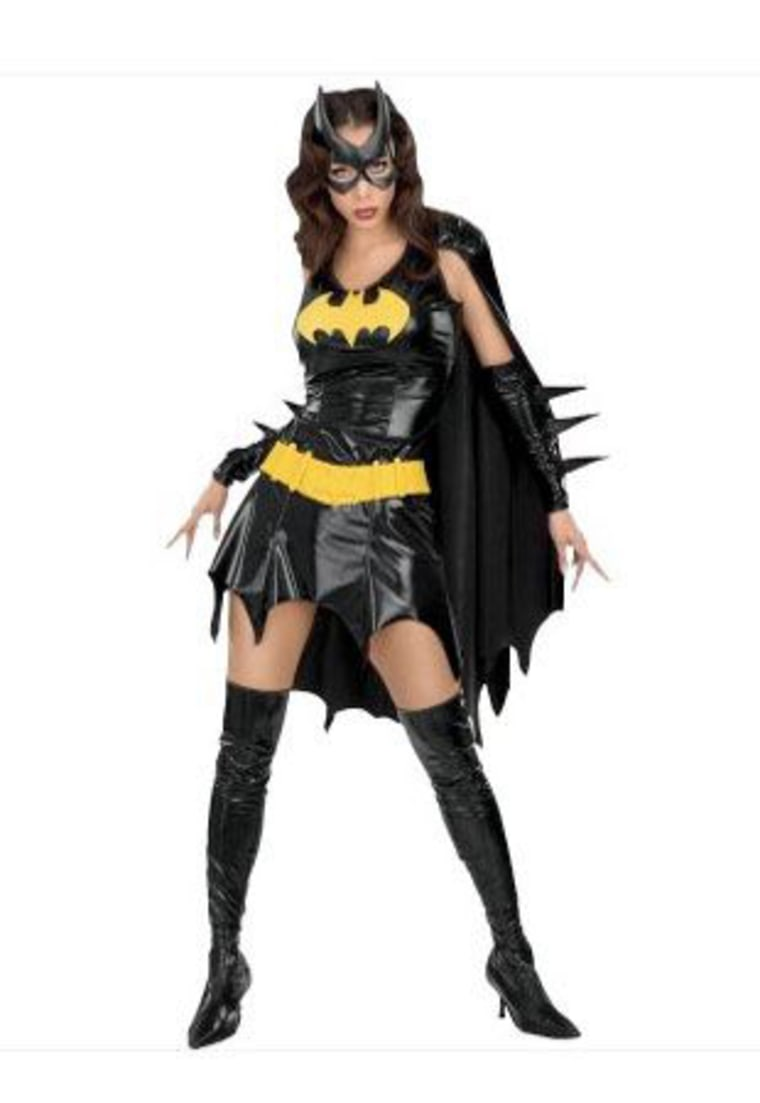 For young adult women, the popular costumes are sexier than ever. The Batgirl costume comes with a black mini-dress featuring the yellow bat logo and black boots to match.