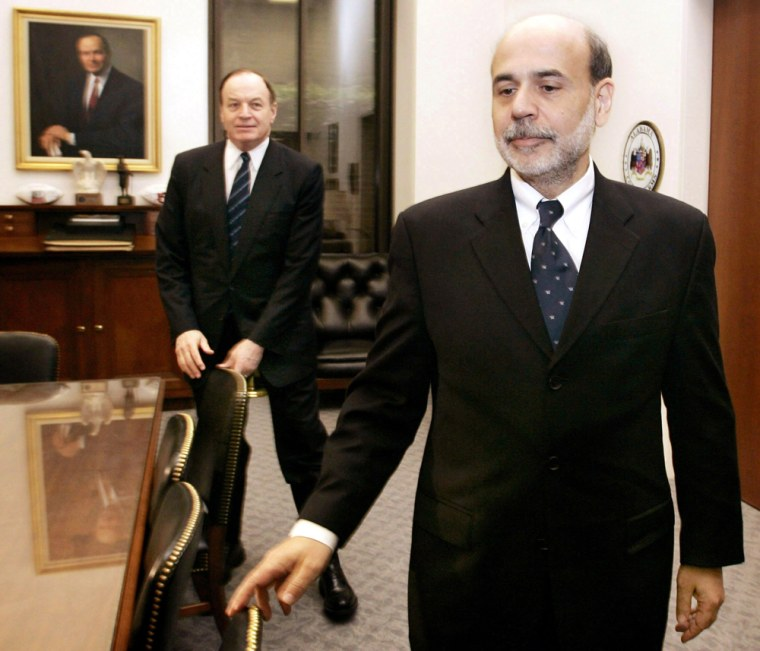 US Federal Reserve Chairman nominee Bernanke leaves meeting with Senator Shelby on Capitol Hill