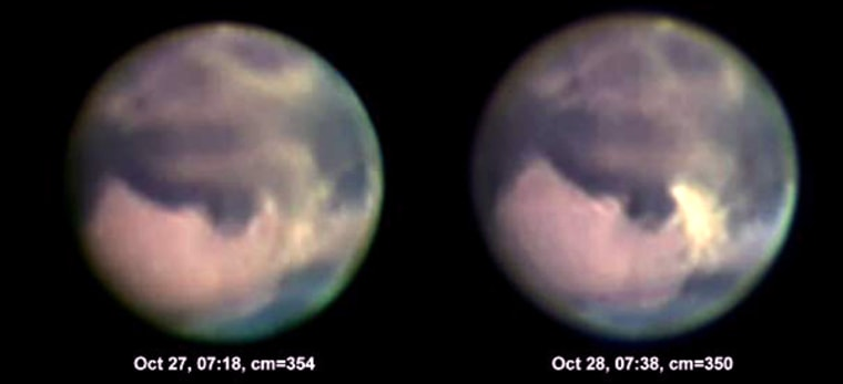 The left image shows Mars on the night of Oct. 26-27, and the right image was taken the next night. In the course of a day, the relatively bright yellow signature of a dust storm grew noticeably between surface features known as Margaritifer Sinus and Sinus Meridiani. The storm'swidth was estimated at 700 to 800 miles.