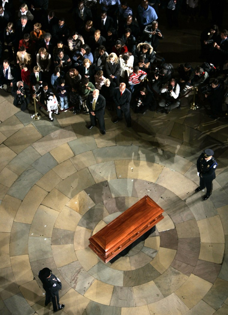 The casket of Rosa Parks rests in the Rotunda of the U.S. Capitol Building in Washington
