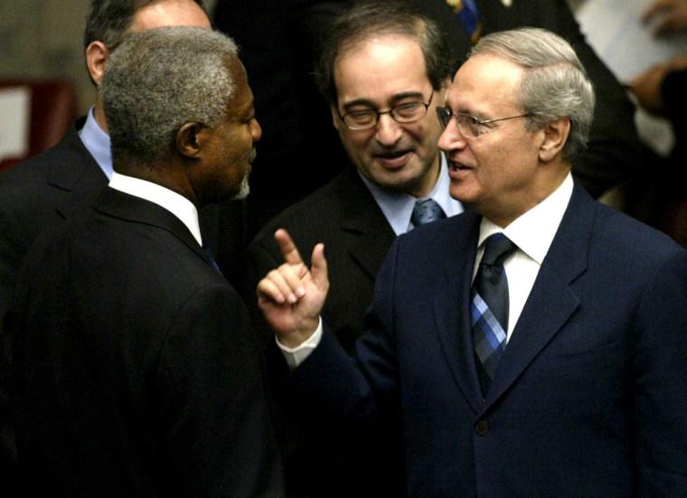 UN Secretary General Annan speaks with Syrian FM al-Shara in New York