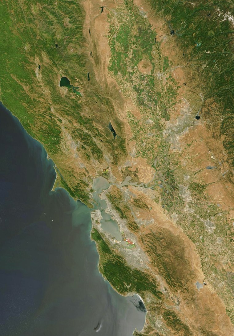 California's delta feeds into San Francisco Bay, seen near the center of this satellite image.