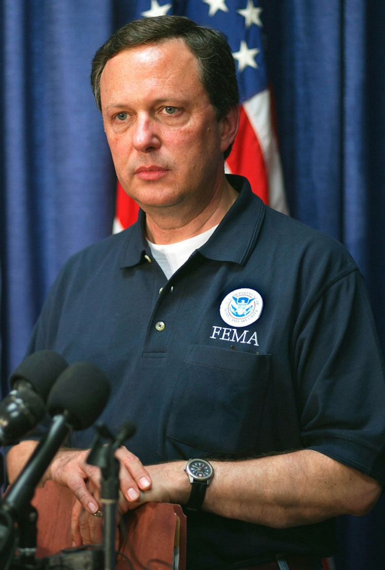 File photo of FEMA Director Michael Brown making a statement at the Louisiana State Emergency Operations Center