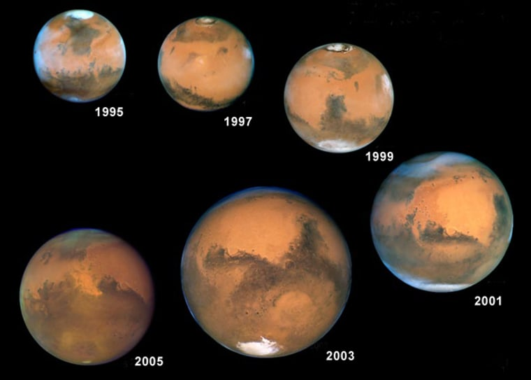 Hubble pictures show Mars in relative sizes as itwas seen from Earth over a series of years, from upper leftto lower left: 1995, 1997, 1999, 2001, 2003 and 2005. The 2003 apparition was clearly the biggest.