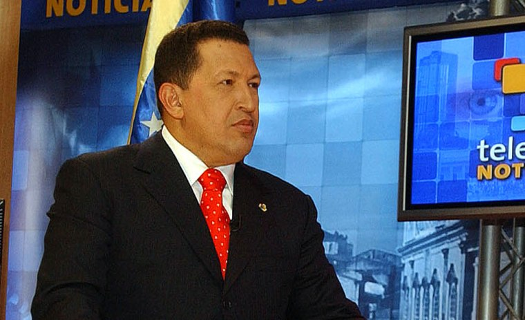 Venezuelan President Hugo Chavez is interviewed in the studios of Telesur in Caracas, Venezuela, on Tuesday. Venezuela is funding the new network, calling it a Latin alternative to large international media outlets like CNN.