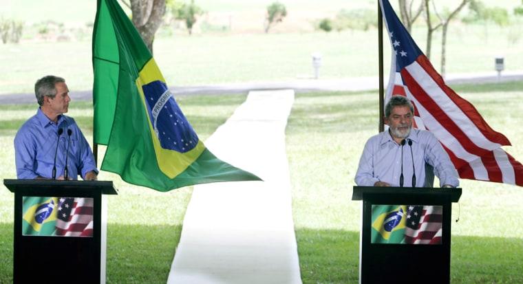US President Bush and his counterpart Brazilian Lula in Brasilia