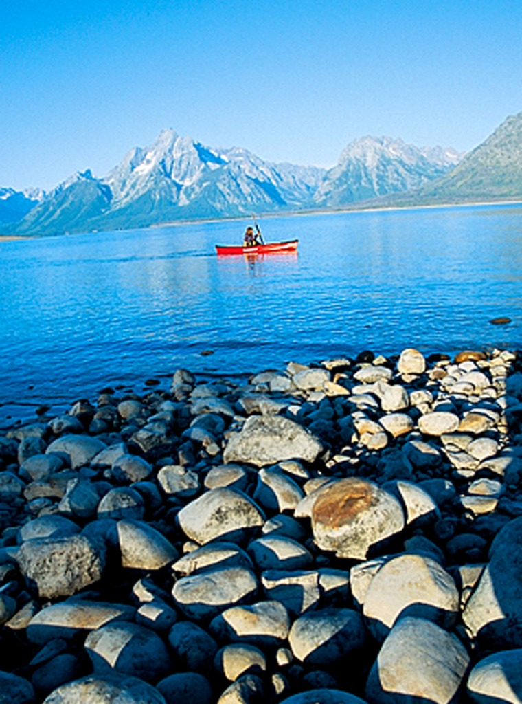 Paddling with the mountains at Jackson Lake.