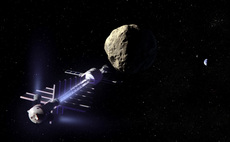 """An artist's conception shows an """"asteroid tractor"""" in a position near an asteroid. The gentle gravitational attraction between the spacecraft and the asteroid would help change the asteroid's course. The tractor's thrusters are angled away to avoid disturbing the asteroid itself."""