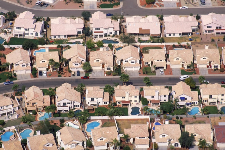Aerial view of suburban homes, Phoenix, AZ