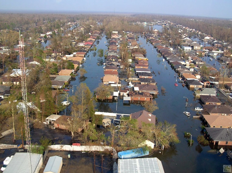 Some of the 1,700 homes affected by the Murphy Oil spill are seen in this photo taken a few days after Hurricane Katrina hit. The water has since receded.