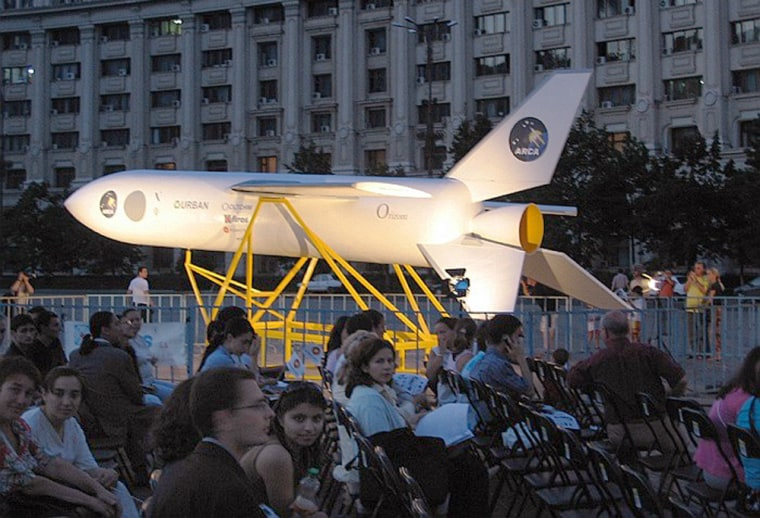 ARCA displays its Orizont launch vehicle at an August rollout ceremony in Bucharest's Constitution Square. The Romanian venture has announced plans foranother launch vehicle calledthe Stabilo.