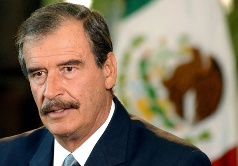 Mexican President Fox speaks during TV interview at Presidential Residence Los Pinos in Mexico City