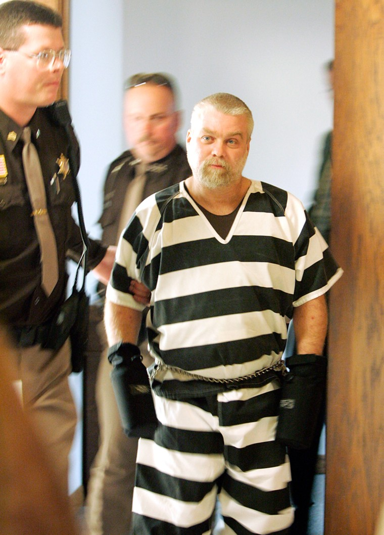 Steven Avery is escorted out of the courthouseon Tuesdayin Manitowoc, Wis.Avery, released from jail in 2003 after DNA samples exonerated him from a rape charge, is the lead suspect in the murder of Teresa Halbach.