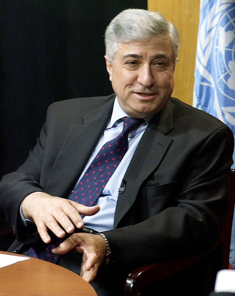 Joseph Stephanides, seen here in 2003, was fired by U.N. Secretary-General Kofi Annan after divulging bidding information related to the Iraq oil-for-food contract.
