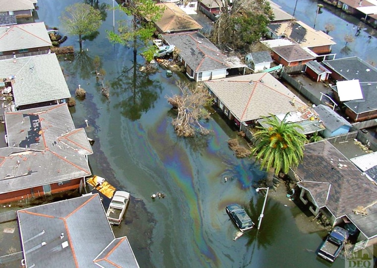 These and hundreds of other homes in Meraux and Chalmette, La., saw a double whammy from Hurricane Katrina: floodwaters and an oil spill. The area has since dried out, leaving oil-tainted residue on homes, lawns and other property.