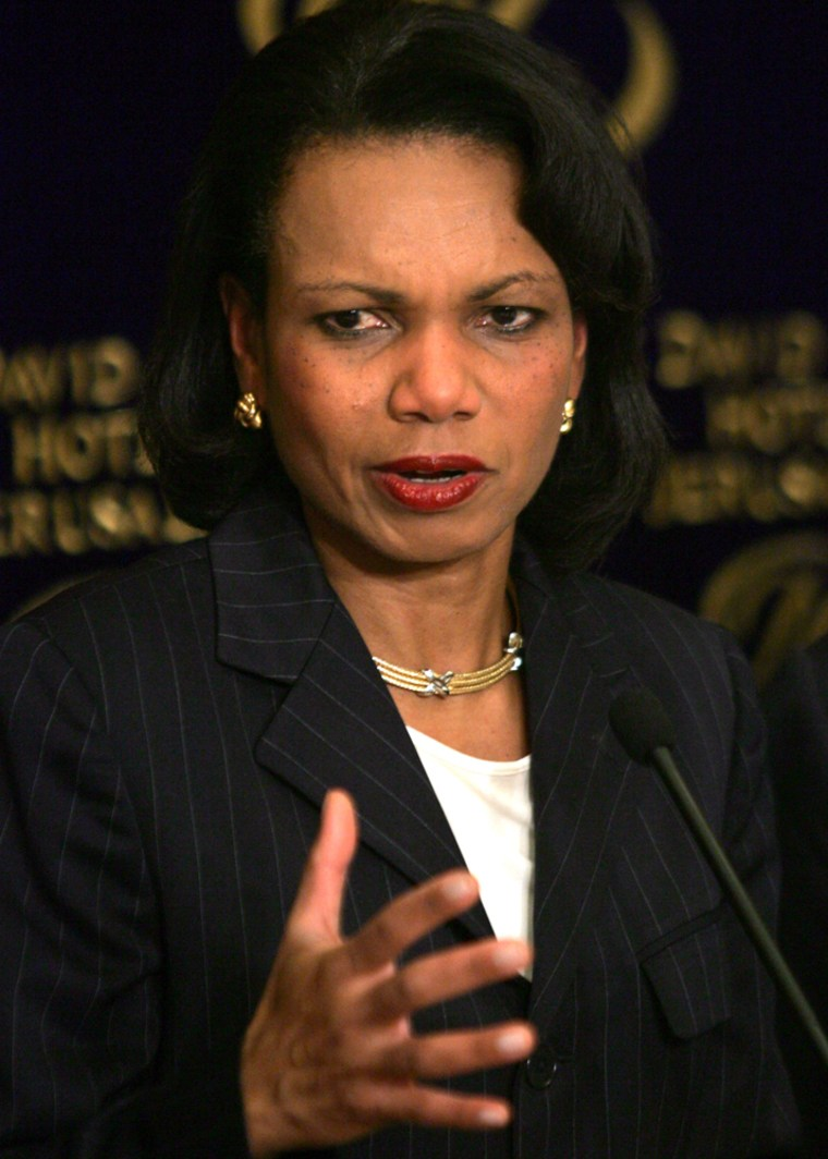 Secretary of State Condoleezza Rice speaks to journalists during a press conference in Jerusalem on Tuesday.