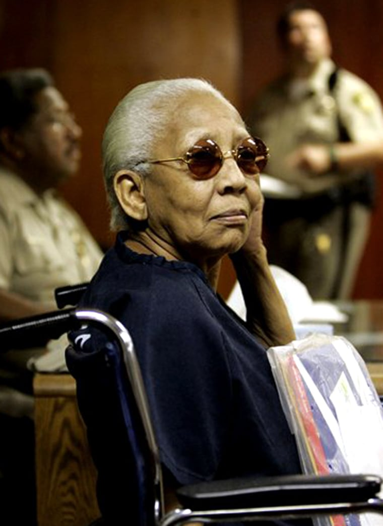 Doris Payne, a 75-year-old international jewel thief, apears in a Las Vegas courtroom Sept. 7, 2005. Payne, who was successful stealing jewels for more than 50 years, now faces charges that she stole a ring from a Neiman Marcus store.