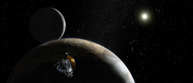 The New Horizons spacecraft is set to launch in early 2006, bound for distant Pluto and its moon, Charon, as well as Kuiper Belt objects. This artist's conception shows the probe at Pluto with the sun in the far distance.