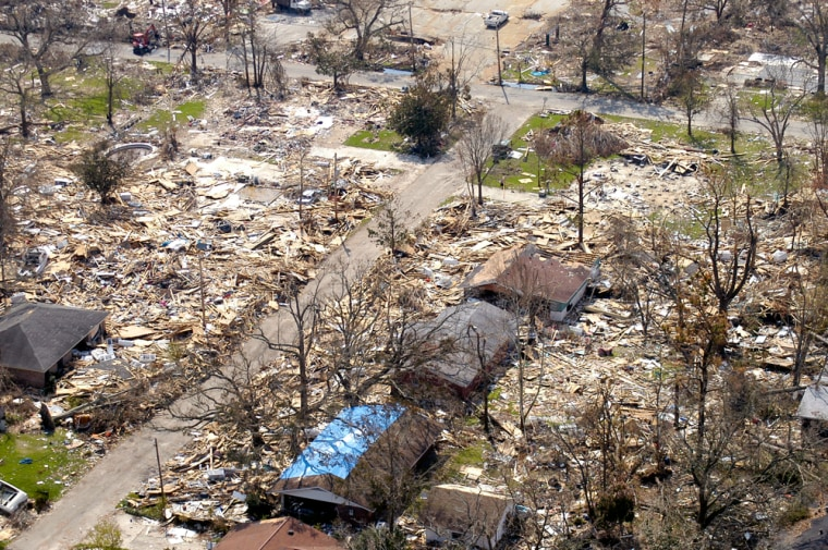 Damagefrom HurricaneKatrina is seen in Gulport, Miss. This year's Atlantic storm season was so active it stretched forecasters beyond the normal list of names andracked up more storm deaths and destruction than the previous 10 years combined
