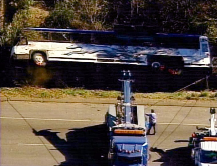 Authorities and tow truck operators responded Sunday to the scene of a bus accident on Highway 101, in Santa Maria, Calif.