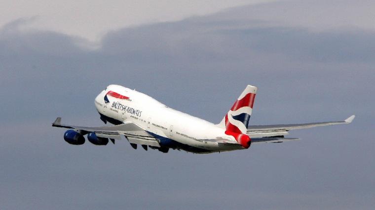 British Airways plane takes off at Heathrow Airport in west London