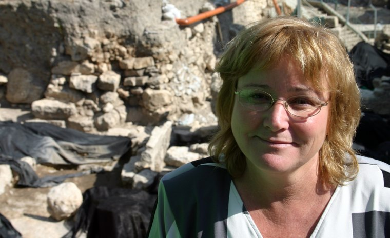 Eilat Mazar, 49, stands on the edge of her excavation just outside Jerusalem's Old City walls.