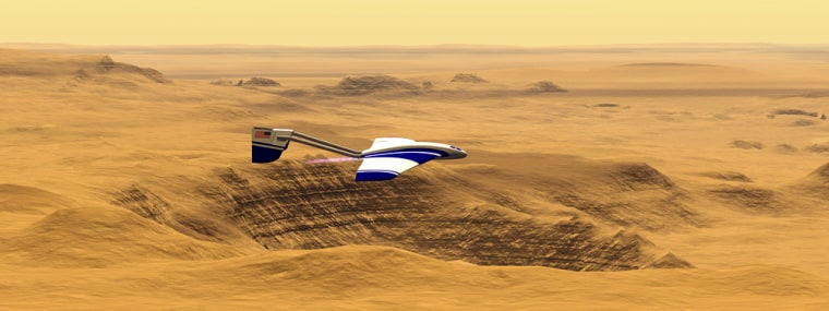 An artist's conception shows a future unmanned aerial vehicle zooming over the Martian surface.