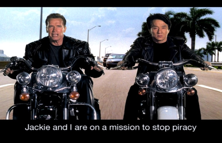California governor Arnold Schwarzenegger and actor Jackie Chan in anti-piracy public service announcement