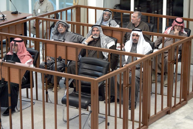 Saddam Hussein's chair stood empty at his trial on Wednesday, a day after he threatened to boycott the proceedings.