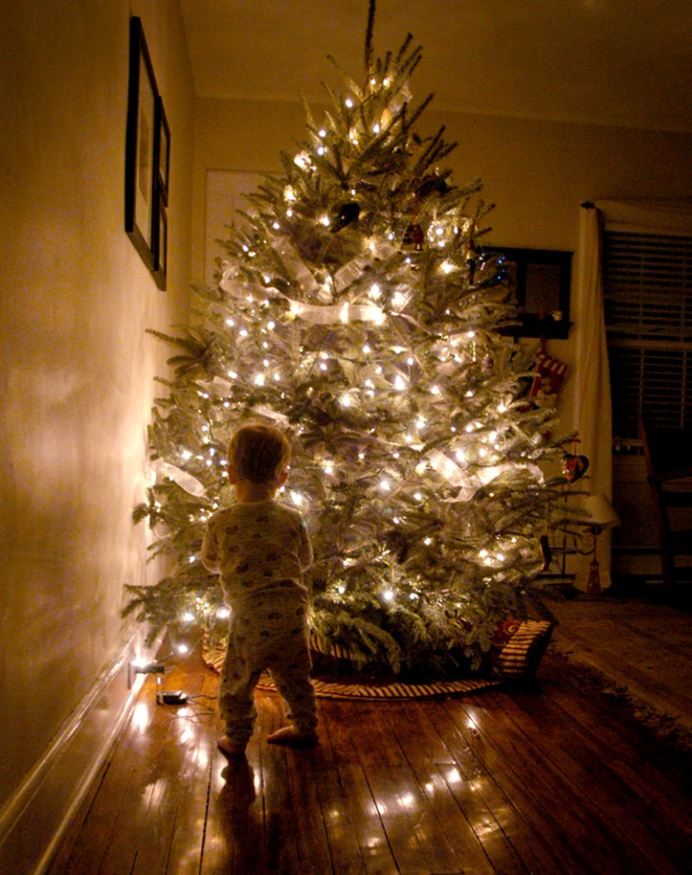 Jack Sweeney,1-1/2,hangs decorations on his new Christmas tree on Saturday in his New Jersey home.